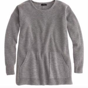 JCrew Merino Pocket Tunic Sweater Gray XXS Wool